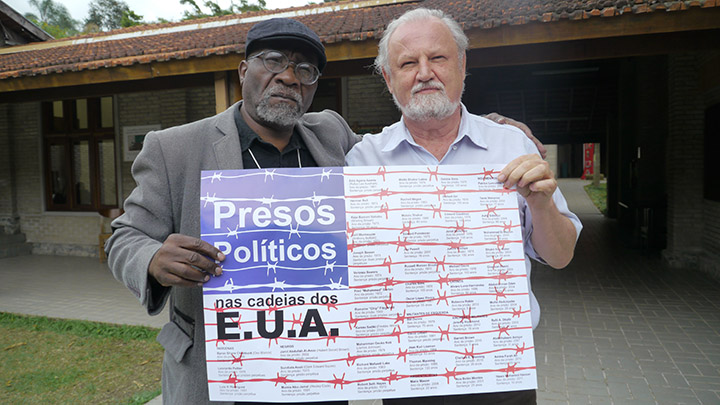 Willie Baptist and João Pedro Stédile of the Landless Workers' Movement at the Florestan Fernandes National School in Brazil.