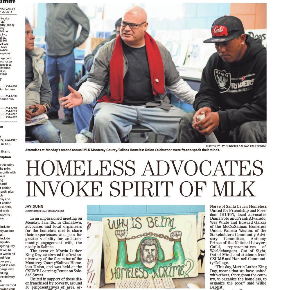 A newspaper page, showing a story about the event in Salinas. The headline reads 'Homeless Advocates Invoke Spirit of MLK'