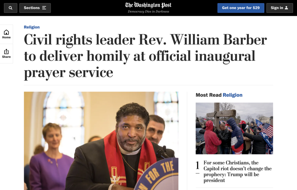 The Washington Post sobre la homilía del Rev. Barber en el servicio oficial de oración inaugural.