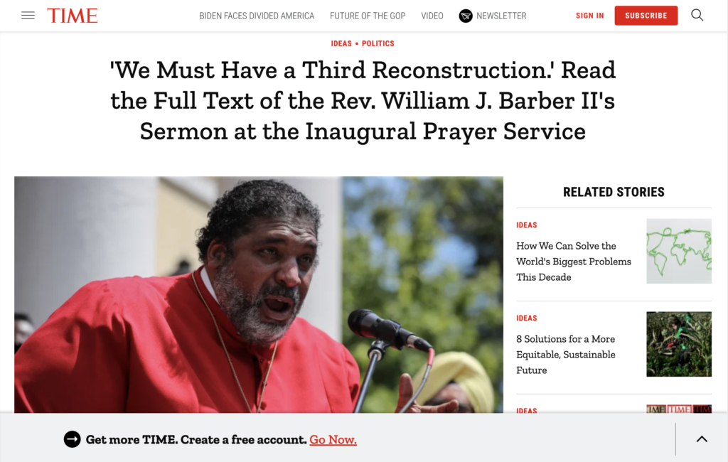 TIME Magazine post of Rev. Barber's inaugural sermon.